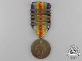 An American First World War Victory Medal; 5 Clasps