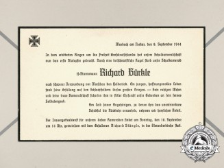 A Notice of Death of Waffen-SS Sturmmann Richard Bürkle in Original Envelope