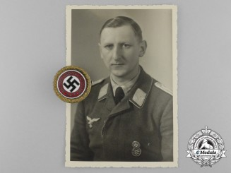 A Large Size NSDAP Golden Party Badge, # 5088