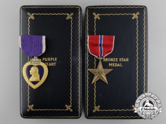 A Bronze Star & Purple Heart to 1st Lieut. Derby who Died Aboard POW Hell Ship Brazil Maru 1945