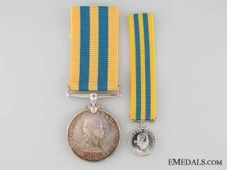 Canadian Korea Medal with Miniature