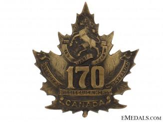"WWI 170th Infantry Battalion ""Mississauga Horse"" Cap Badge"