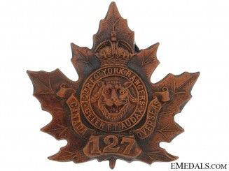 127th Battalion (York County) Cap Badge, CEF