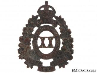 20th Battalion (First Central Ontario) Cap Badge, CEF