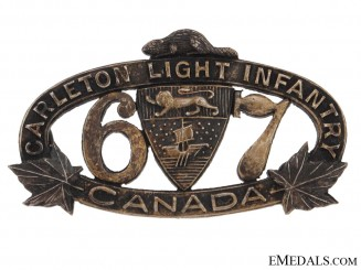 67th Regiment Carleton Light Infantry Officer's Collar Badge