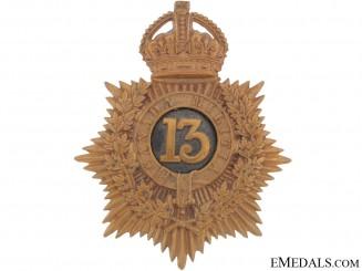 13th Canadian Regiment of Militia (Hamilton, Ont) Helmet Plate