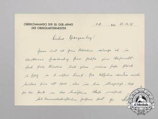 Germany, Heer. Three Letters of 20th Mountain Army, Signed by Eduard Dietl & Ferdinand Jodl