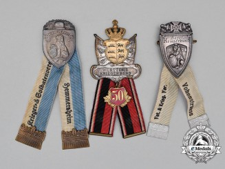 A Grouping of Three First War German Veteran's Association Membership Badges