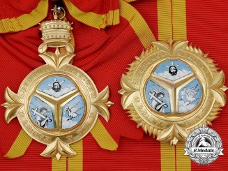 An Ethiopian Order of the Holy Trinity; Grand Cross Set in Case