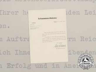 A Congratulatory Letter to Reich Vocational Competition Winner from SS-Obersturmführer