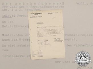 Germany, SS. A Promotion Recommendation for SS-Sturmbannführer Dr. Gustav Schlotterer
