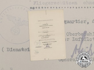 An Air Gunner Badge Award Document;  Unqualified Air Gunner Badge Recipient