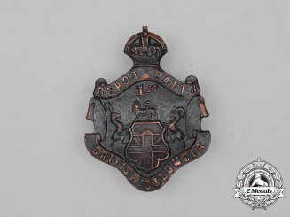 A First War CEF British Columbia 1st Depot Battalion Cap Badge