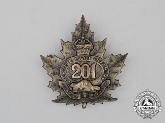 "A First War CEF 201st Infantry Battalion ""Toronto Light Infantry"" Cap Badge"