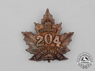 "A First War CEF 204th Infantry Battalion ""Toronto Beavers"" Cap Badge"