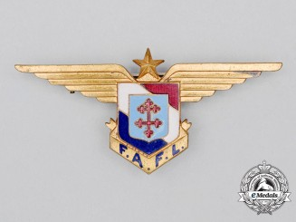 A Second War Free French Air Forces (FAFL) Pilot Wing/Branch of Service Badge