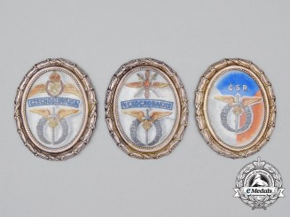 Three Second War Czechoslovak Air Force Commemorative Badge