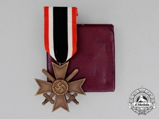 A Second War German War Merit Cross Second Class with Swords in its LDO Case of Issue