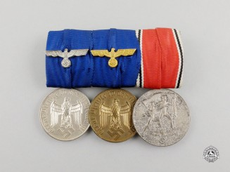 A Second War Wehrmacht Long Service & Austrian Anschluss Medal Bar Group