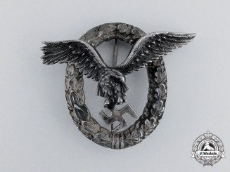Luftwaffe. An Early Quality Manufacture Pilot's Badge by C. E Juncker of Berlin