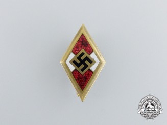 A Golden HJ Member's Honour Badge; Numbered; by Deschler & Sohn