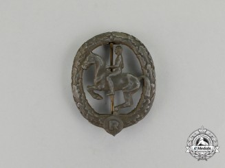 A Third Reich Period Bronze Grade German Equestrian Badge by Christian Lauer
