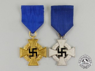 Two German Faithful Service Crosses for 25 and 40 Years