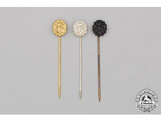 A Complete Grouping of Three First War German Naval Wound Badge Miniature Stick Pins