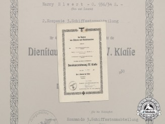 A 4th Class Long Service Award Document to Matrosenhauptgefreiter Elwert