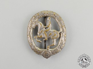 A Third Reich Period Silver Grade German Equestrian Badge by Christian Lauer