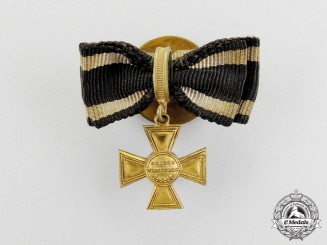 A Wartime Miniature Prussian Golden Military Merit Cross Boutonniere