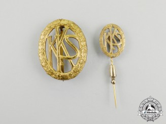 Germany. An KKS (Small-Caliber Shooting Association) Badge and Miniature Stick Pin