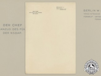 A Unused Letterhead of the Chief of Führer Chancellery Philipp Bouhler