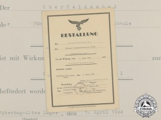 A 1944 Promotion Document to Luftwaffe Stabsfeldwebel Heinrich Deppe