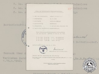 A Wehrmacht Flak Badge Application for Oberleutnant Alfons Schulz