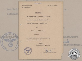 "A Promotion Document for Motor Warden of Fighter Wing ""Hindenburg"" Erwin Hielschet"