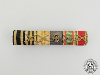 A First and Second War Austrian Police Service Medal Ribbon Bar