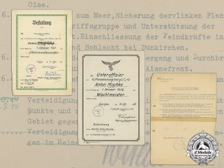 A Document Group to Flak Oberwachtmeister Anton Mischke