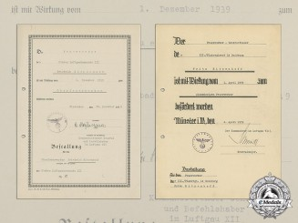 "Two Promotion Documents to Luftwaffe artificer Friedrich ""Fritz"" Ritzenhoff"