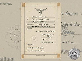 A Luftwaffe Medical Sergeant Promotion Document to Ernst Daiber