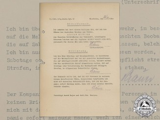 A 1940 Signed Wehrmacht Oath of Allegiance by Luftwaffe Signals Soldier