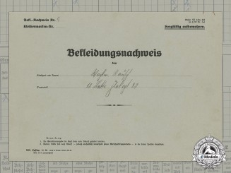 A Uniform Issue Document to Flak Sergeant Rausch