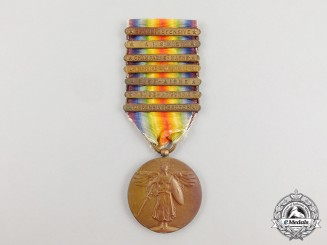 An American First War Victory Medal with Seven Clasps