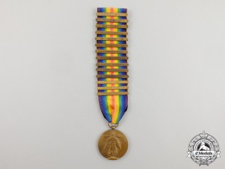 An American First War Victory Medal with Fourteen Clasps