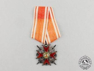 A First War Russian Order of St. Stanislaus Military Division; 3rd Class & French Made c.1920
