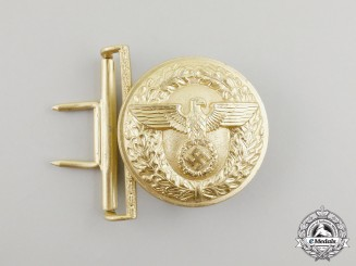 A NSDAP Political Leader's Brocade Dress Belt Buckle by Friedrich Linden of Lüdenscheid