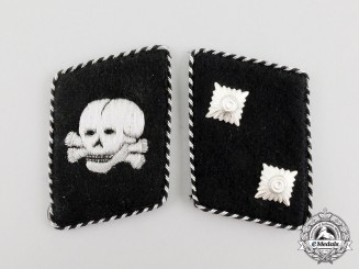 An Early Set of SS-Totenkopfverband Oberscharführer Rank Collar Tabs