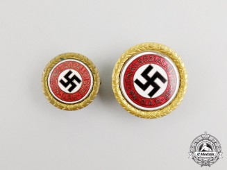 Two Matching Golden Party Badges to Austrian Julius Becker; NSDAP Ortsgruppe Andritz