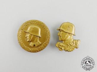 Two Golden Third Reich Period Wehrmacht Badges