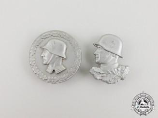Two Silver Third Reich Period Wehrmacht Badges